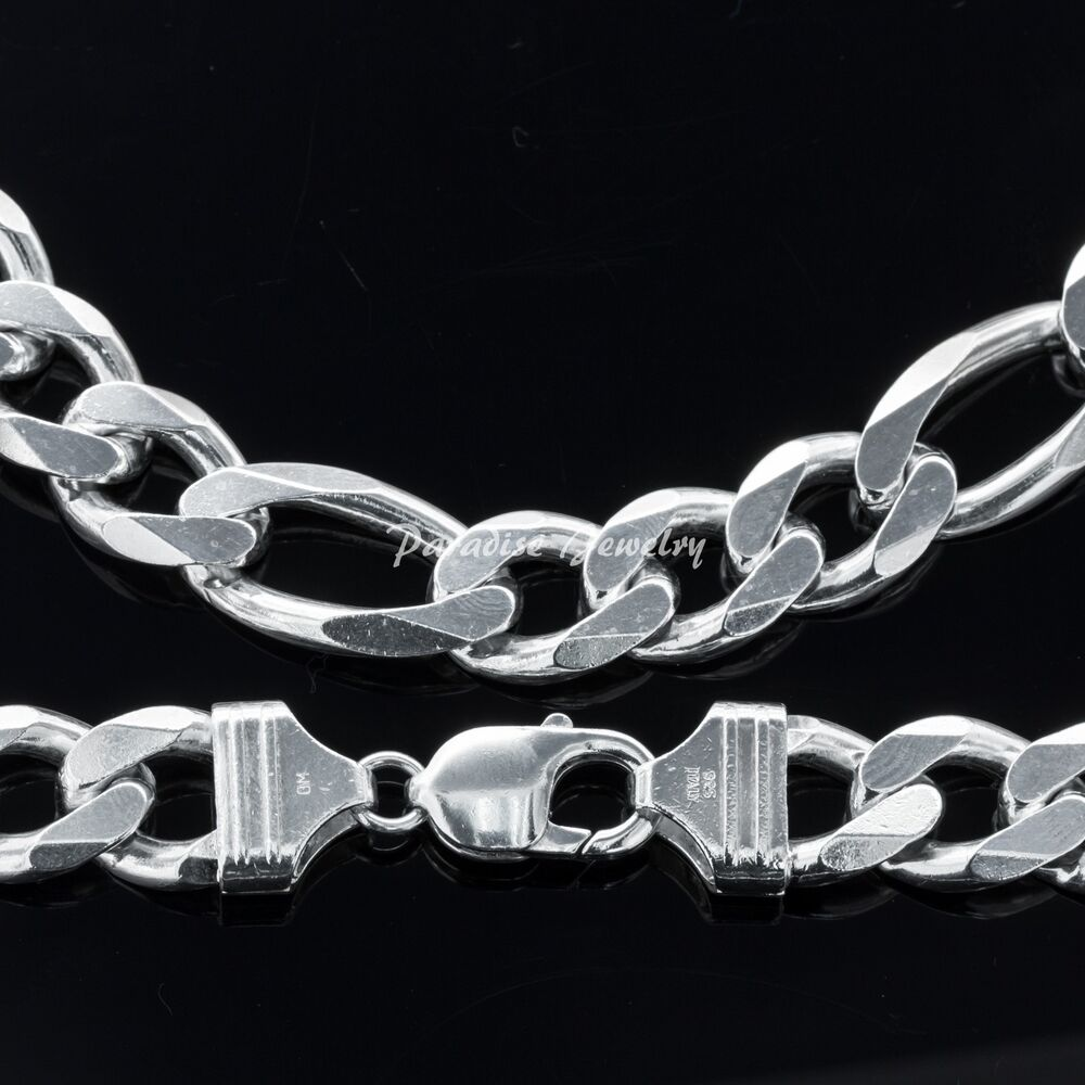 """Men's Solid Sterling Silver 22"""" 14K White Gold Finish ..."""