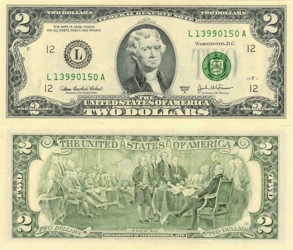 2 dollar bill glossy poster picture photo two cash money currency jefferson 1253 ebay. Black Bedroom Furniture Sets. Home Design Ideas
