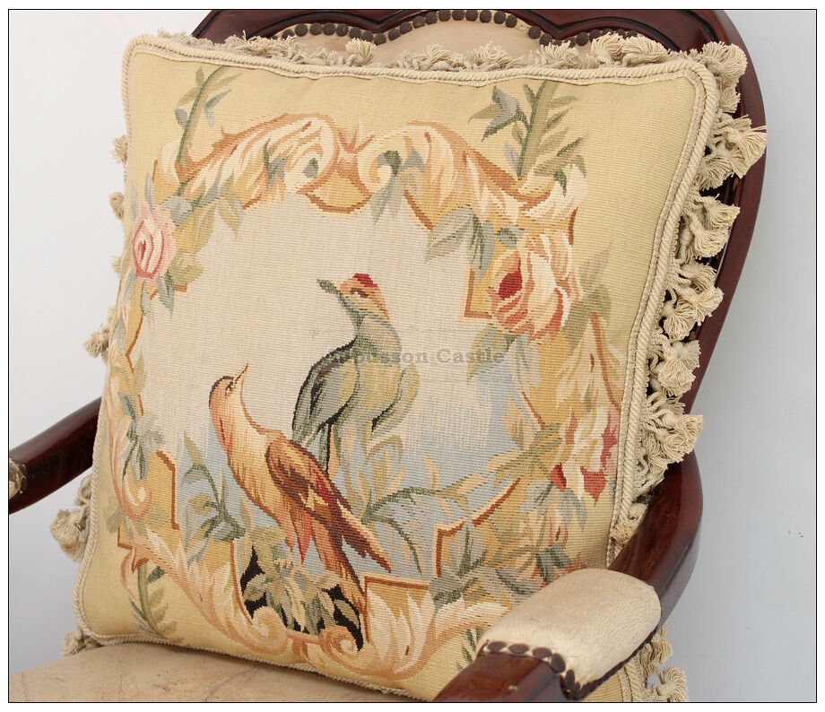 Parrot Birds Ii Aubusson Pillow Wool French Bed Sofa Chair