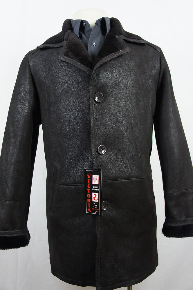New 100 Genuine Real Shearling Leather Sheepskin Men Coat