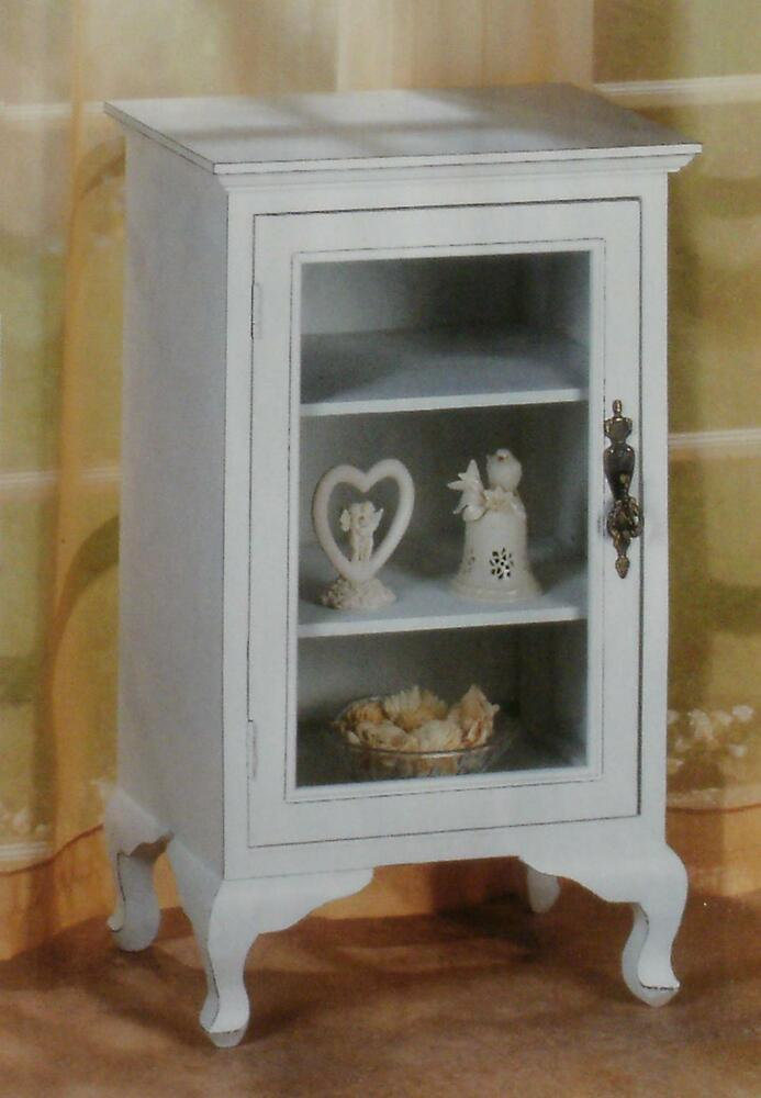 Distressed White Wood End Table Night Stand With Glass Door 2 Shelves Shab Chic Ebay