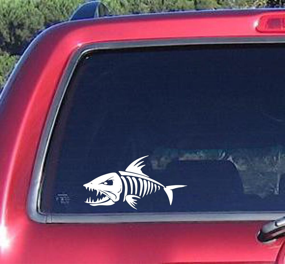 Skeloton skeleton fish decal sticker fishing man boat car for Fishing stickers for trucks