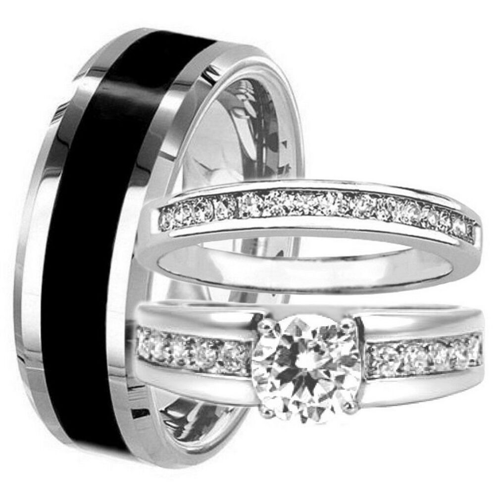 3 Pc TUNGSTEN Mens Amp Womens Engagement Wedding Band Rings Set CZ HIS Black HERS