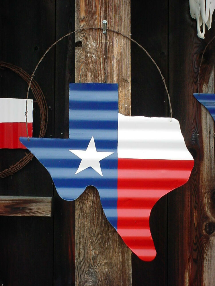 Texas Flag Wall Decor Rustic Wreath Barn Tin 24 X24 Barb