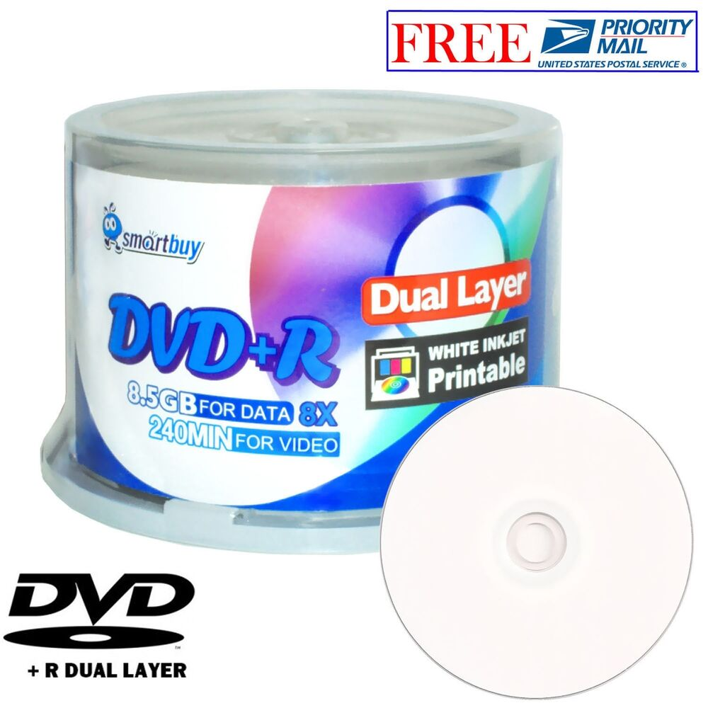 50 pcs smartbuy blank dvd r dl 8x 8 5gb dual layer white. Black Bedroom Furniture Sets. Home Design Ideas