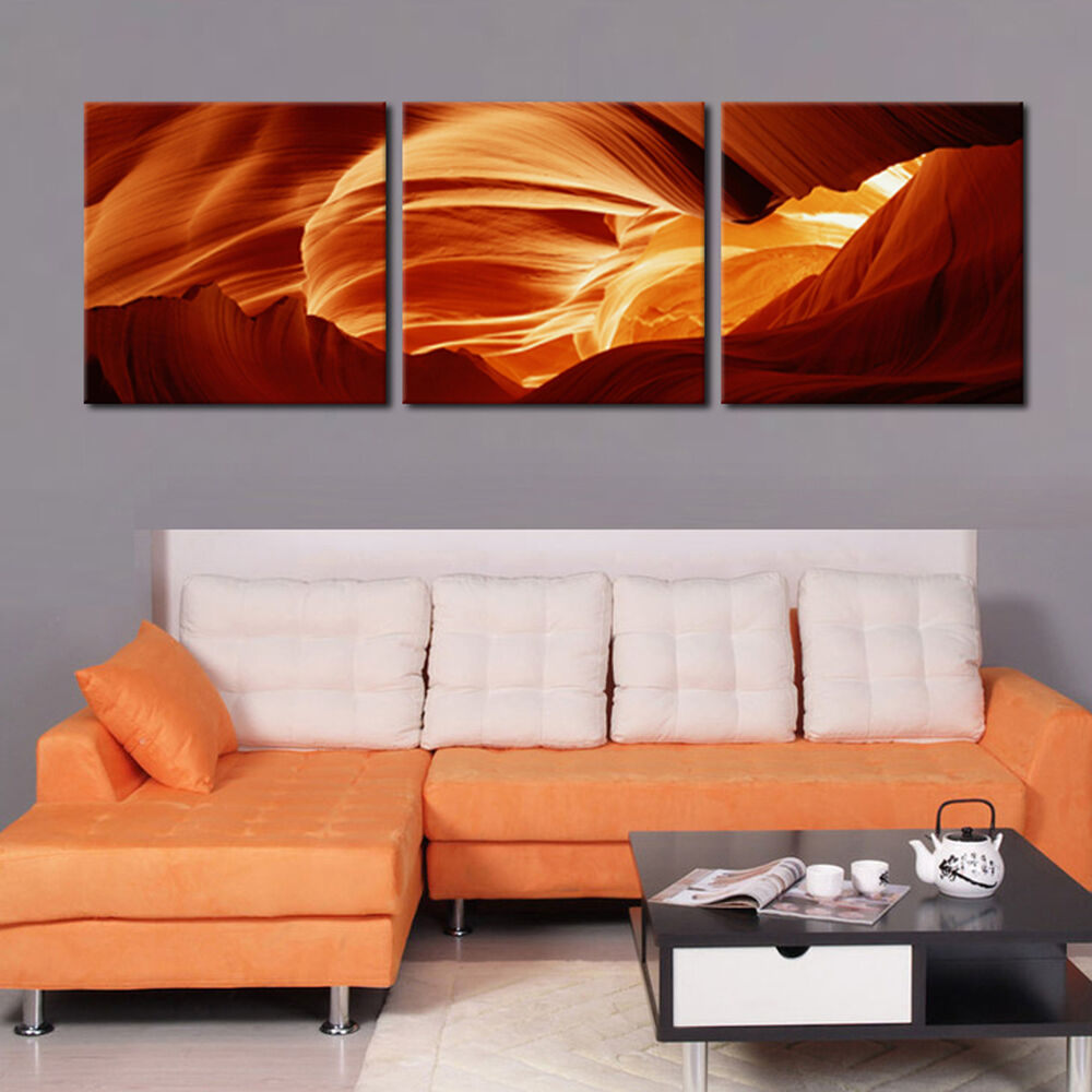 antelope canyon ready to hang 3 panel mounted wall art print improved canvas art ebay. Black Bedroom Furniture Sets. Home Design Ideas