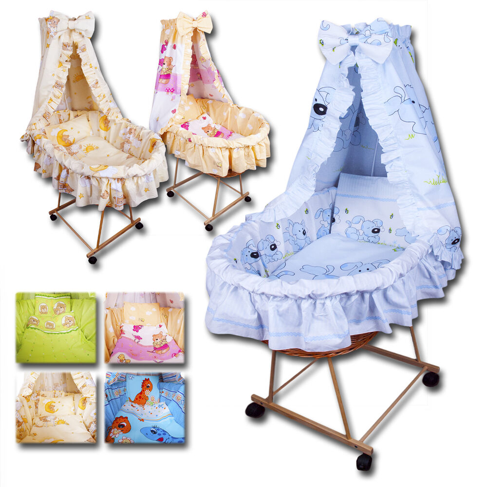 stubenwagen bollerwagen holz ausstattung baby bettw sche komplettes set neu ebay. Black Bedroom Furniture Sets. Home Design Ideas