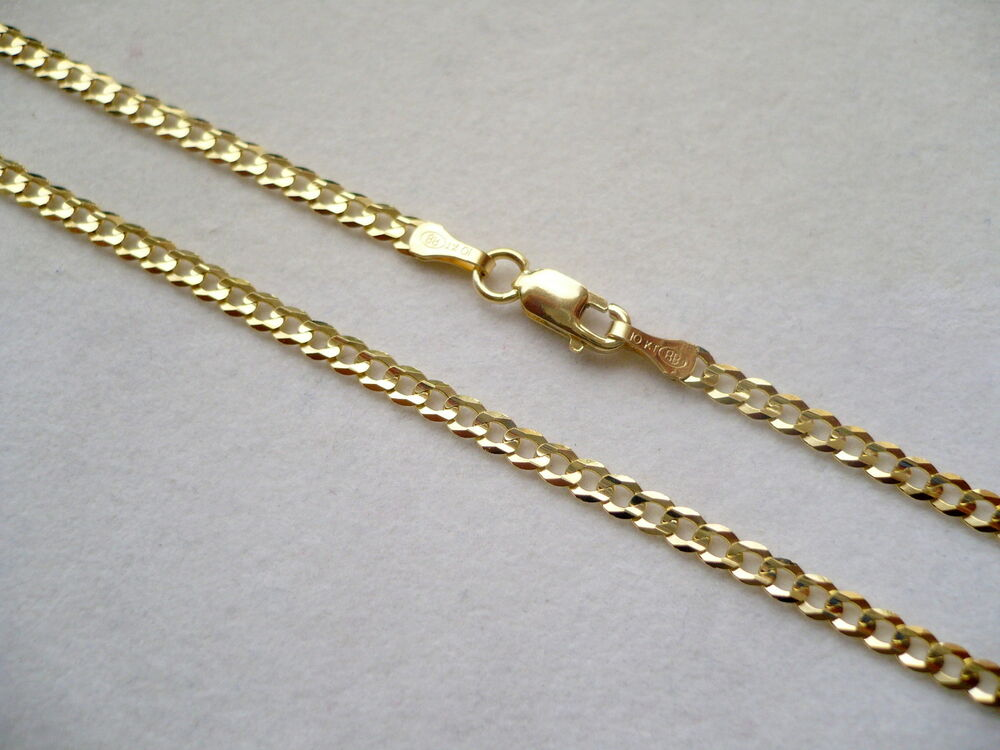 2mm 10k Solid Gold Men S Women S Cuban Link Chain Necklace 16 Quot 36 Quot Free Shipping Ebay