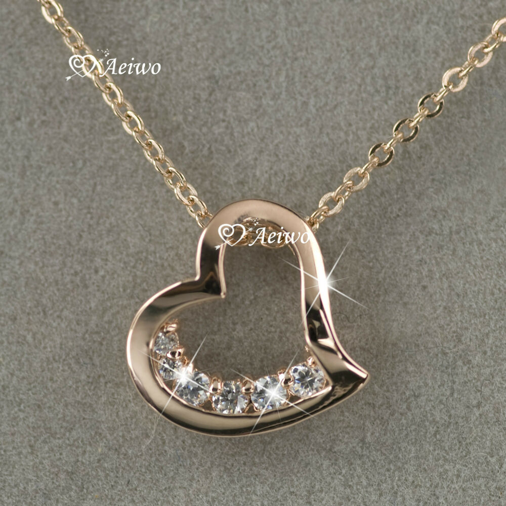 18k rose gold gf swarovski crystal love heart pendant. Black Bedroom Furniture Sets. Home Design Ideas