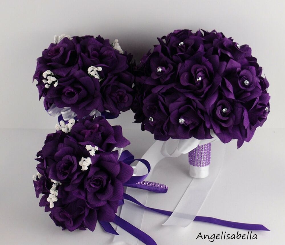 3 bouquets bridal flower girl toss purple rhinestone. Black Bedroom Furniture Sets. Home Design Ideas