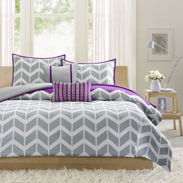 Modern Grey Purple Chevron Zig Zag Sport Stripe Duvet
