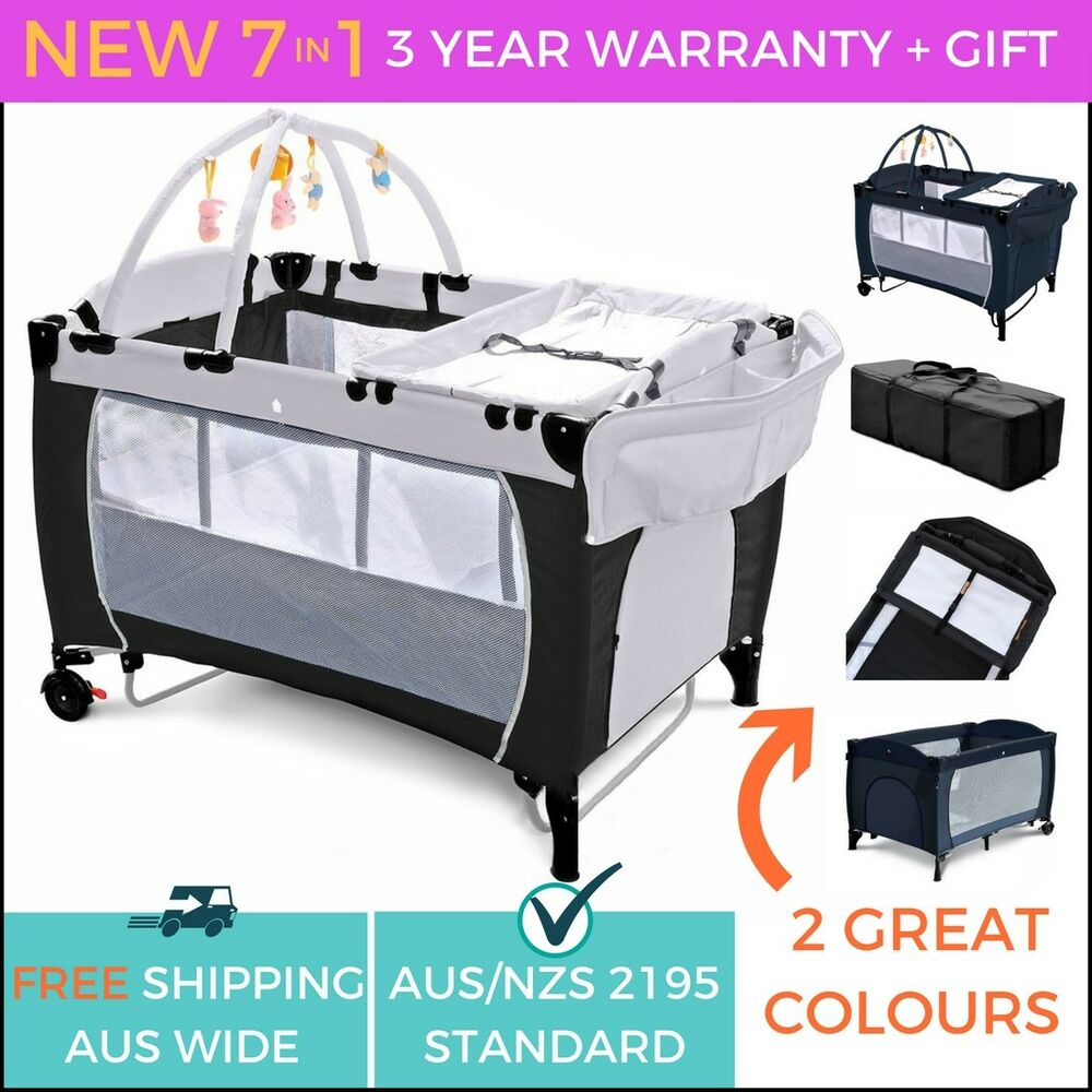 New Safe 7 In 1 Baby Portable Travel Cot Bassinet Playpen