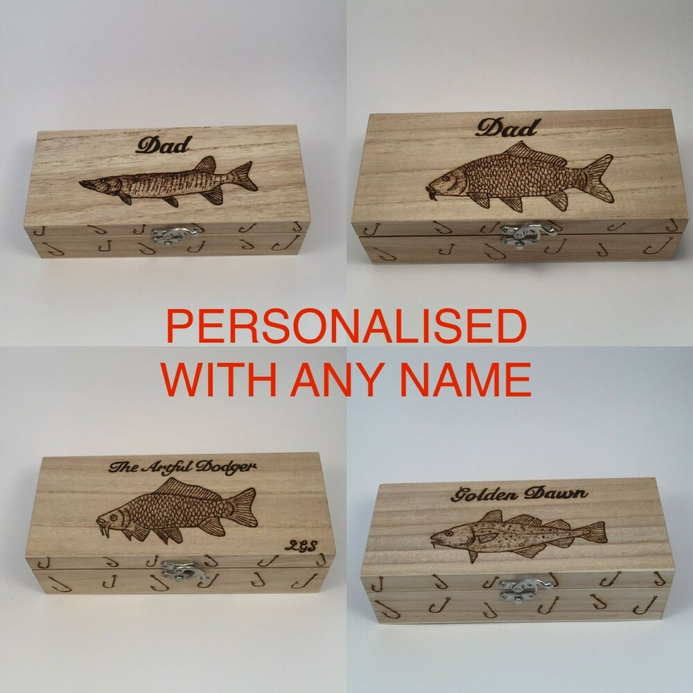 Fishing tackle box handcrafted personalised free bass for Fishing bait box