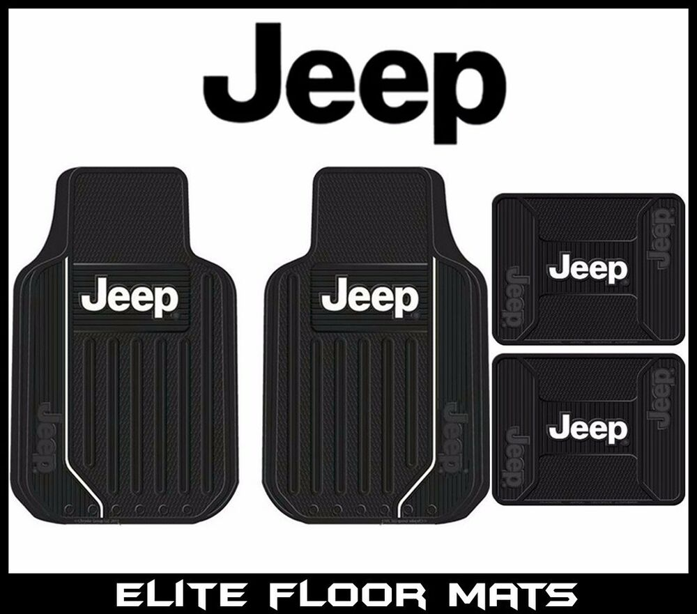 4 Pc Jeep Elite Mopar Front Rear Rubber Floor Mats With