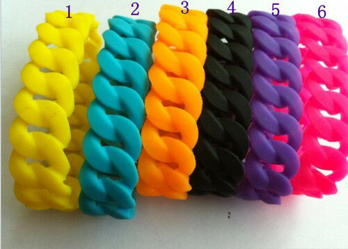 1 5 20pc Candy Color Chunky Chain Link Style Silicone