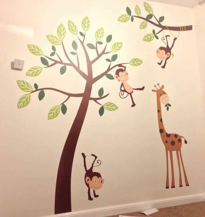 Wall Art Stickers For Nursery : Monkey tree giraffe jungle nursery wall art stickers