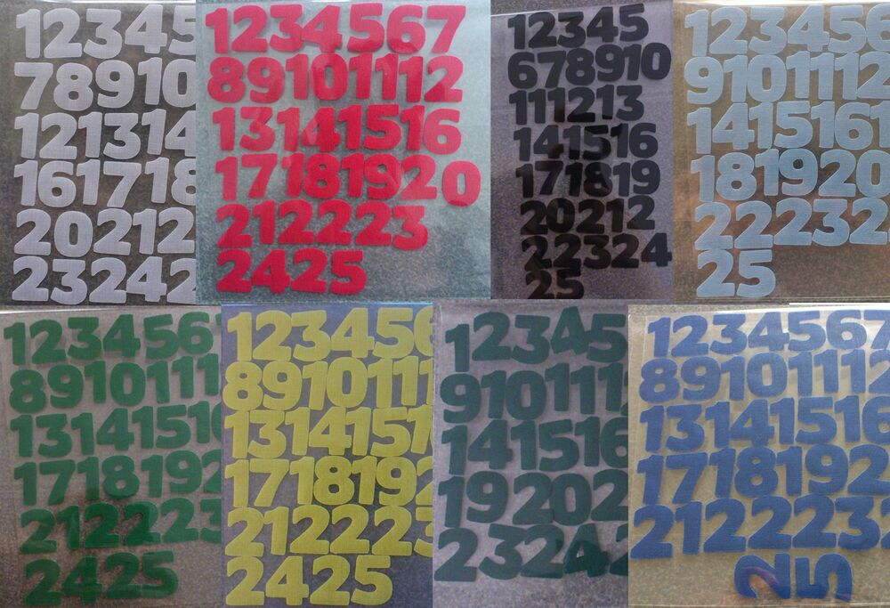 Die Cut Iron On Fabric Numbers!!! 1-25!! Apx 3 Quarters Of