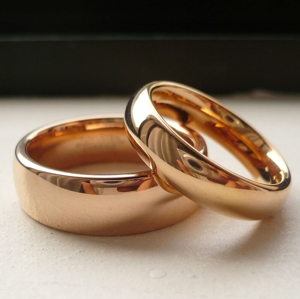 TUNGSTEN CARBIDE ROSE GOLD PLATED HIS & HER WEDDING BAND RING SET 7&5