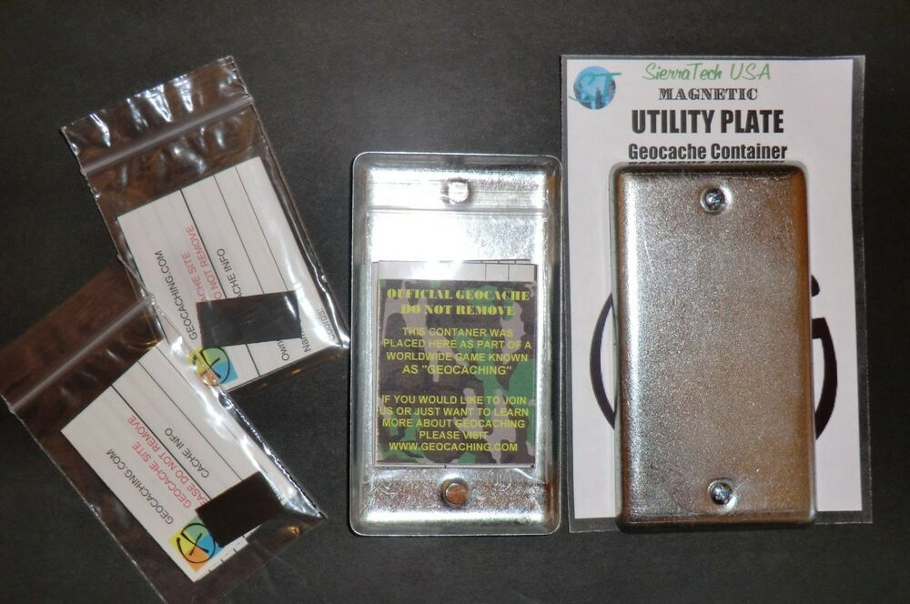 2 Magnetic Utility Electrical Plate Geocache Containers ...