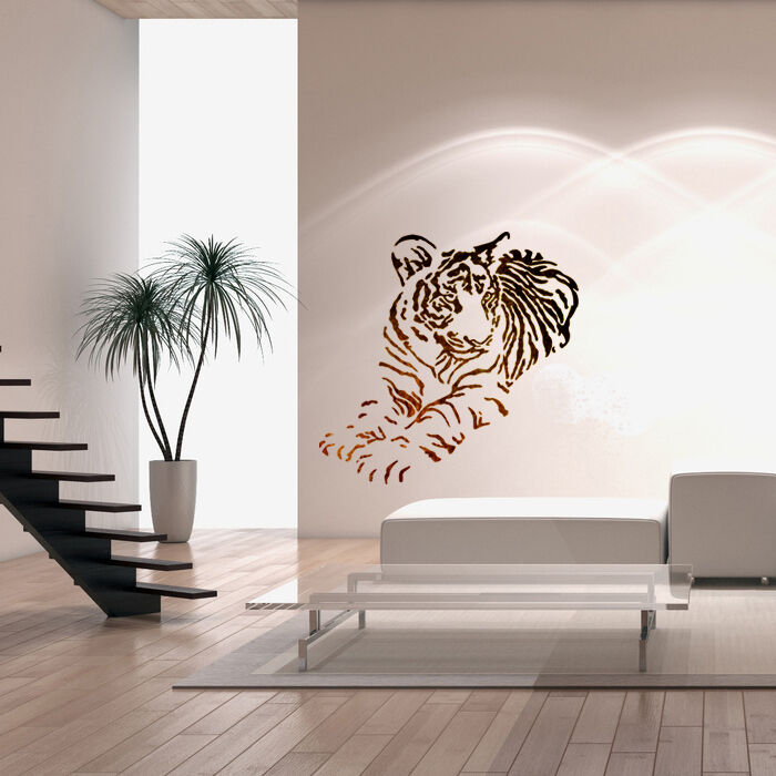 Wall stencils for diy decor rooms kids template tiger - Wall painting stencils for living room ...