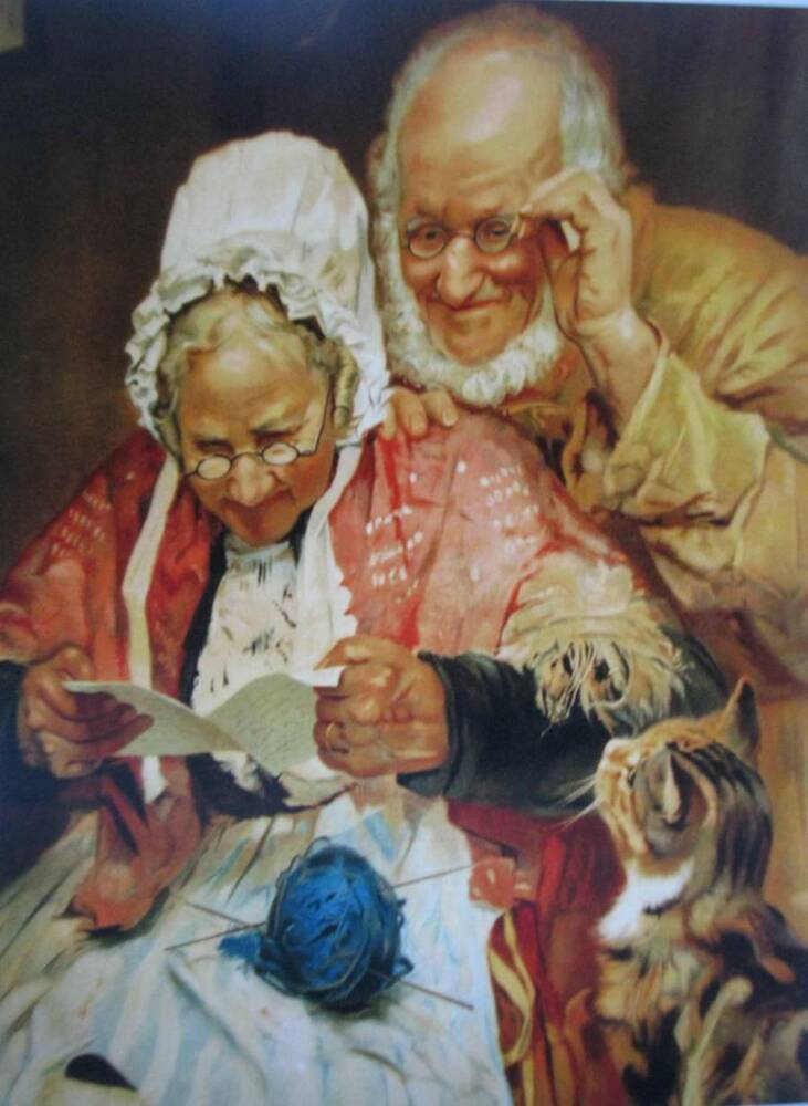 Details about Old granny and grandpa with cat vintage art