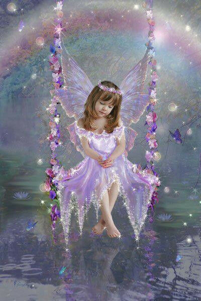 ANGEL CHILD ON SWING IN LAVENDER & BLUE 5X7 FABRIC BLOCK ...