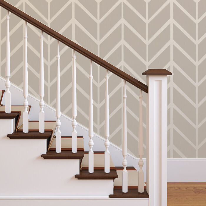 Wall herringbone shuffle allover modern stencil for easy for Paint templates for walls