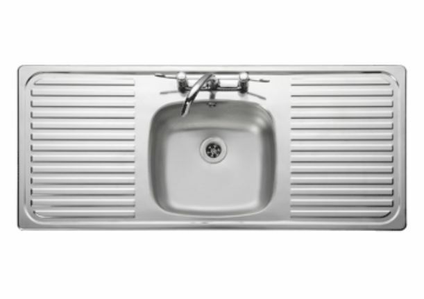 Small Ceramic Kitchen Sink With Drainer : ... Bowl Double Drainer Kitchen Sink 18/10 S/Steel 1160x508mm eBay