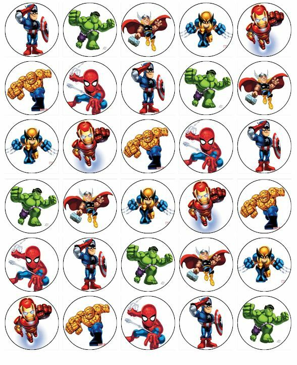 Marvel Superhero Squad Cupcake Toppers Edible Wafer Paper ...