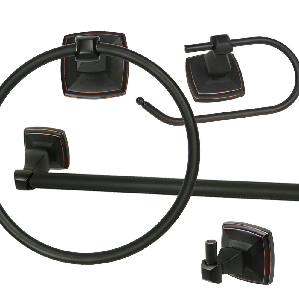 Oil rubbed bronze bath hardware bathroom accessory 4 pc set ebay Oil rubbed bronze bathroom hardware