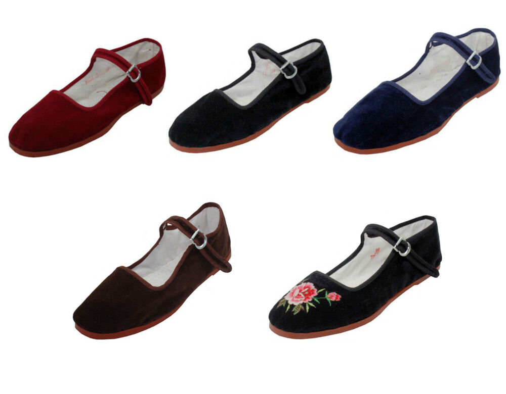new womens velvet mary jane shoes flat slip on ballet sandals colors sizes 5 11 ebay. Black Bedroom Furniture Sets. Home Design Ideas