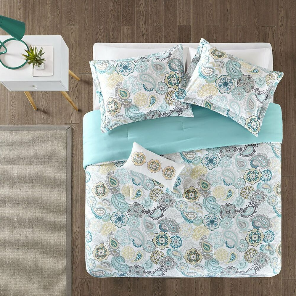 beautiful blue teal white aqua yellow floral beach bright tropical comforter set ebay. Black Bedroom Furniture Sets. Home Design Ideas