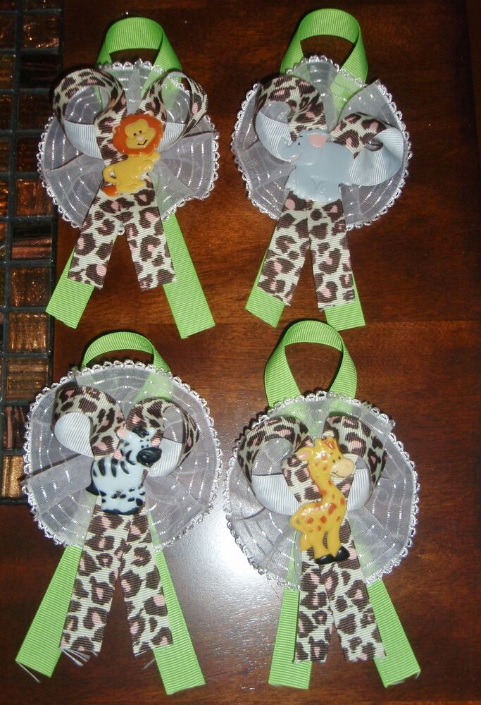 12 jungle safari zoo 12 corsages baby shower party girl for Baby shower party junge