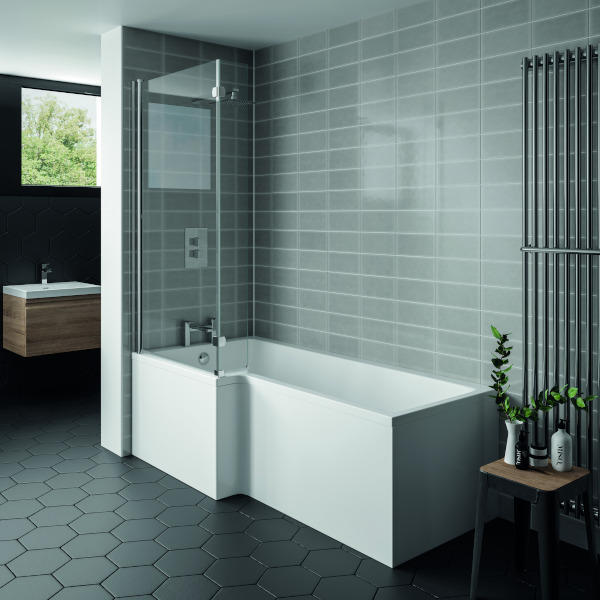 L Shape Shower Bath 1500 With Panels Screen Whirlpool