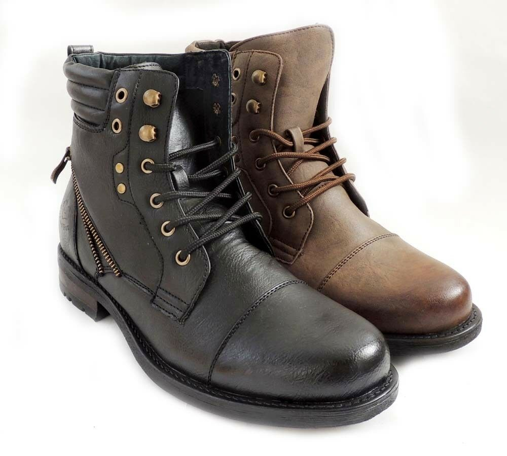 New Mens Fashion Military Style Design Combat Lace Up Rugged Leather Lined Boots Ebay