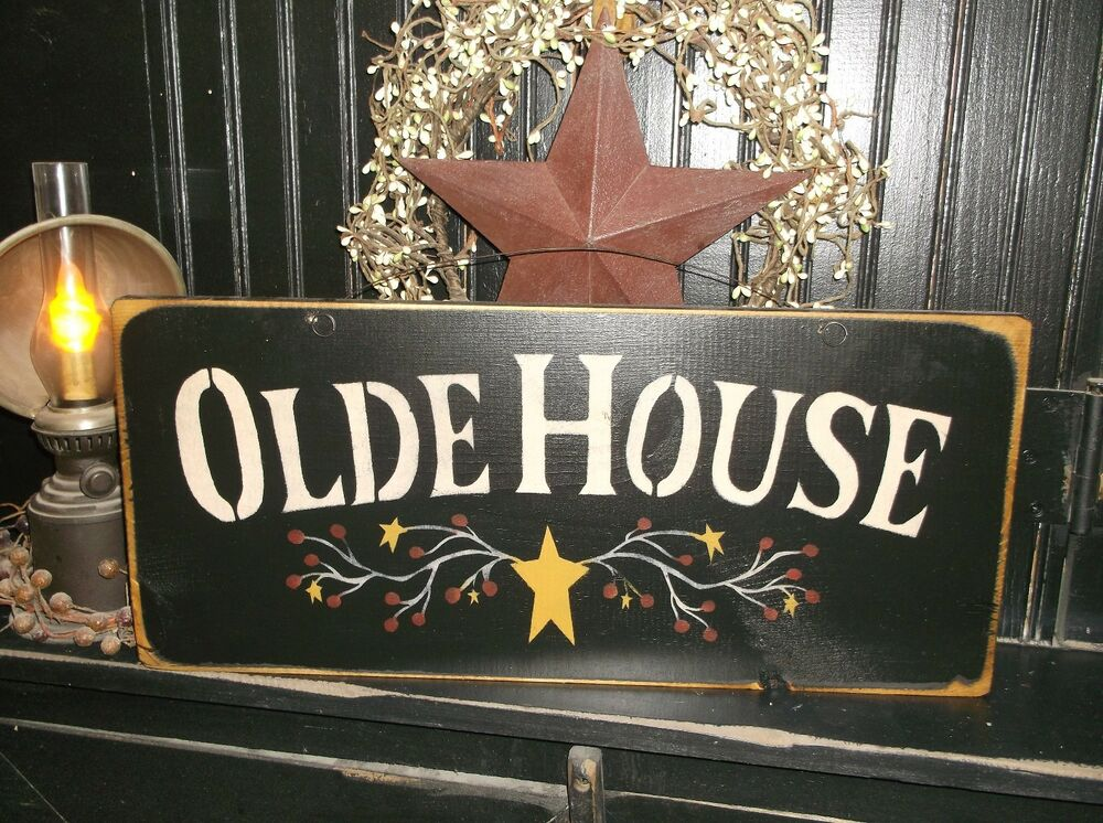Wood sign country rustic home decor sign olde house for I sign decoration