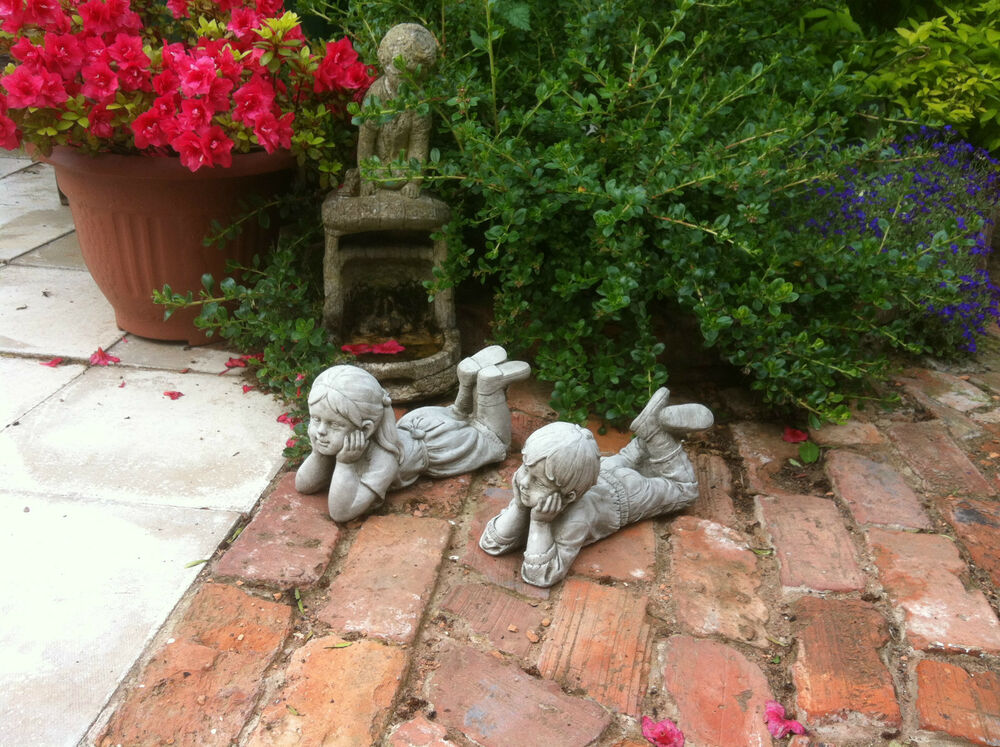 Granite Lawn Ornaments : New home garden small stone boy and girl decorative
