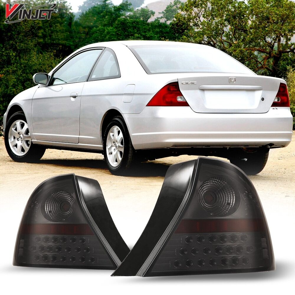 2001 2003 honda civic led tail lights 2dr coupe black. Black Bedroom Furniture Sets. Home Design Ideas