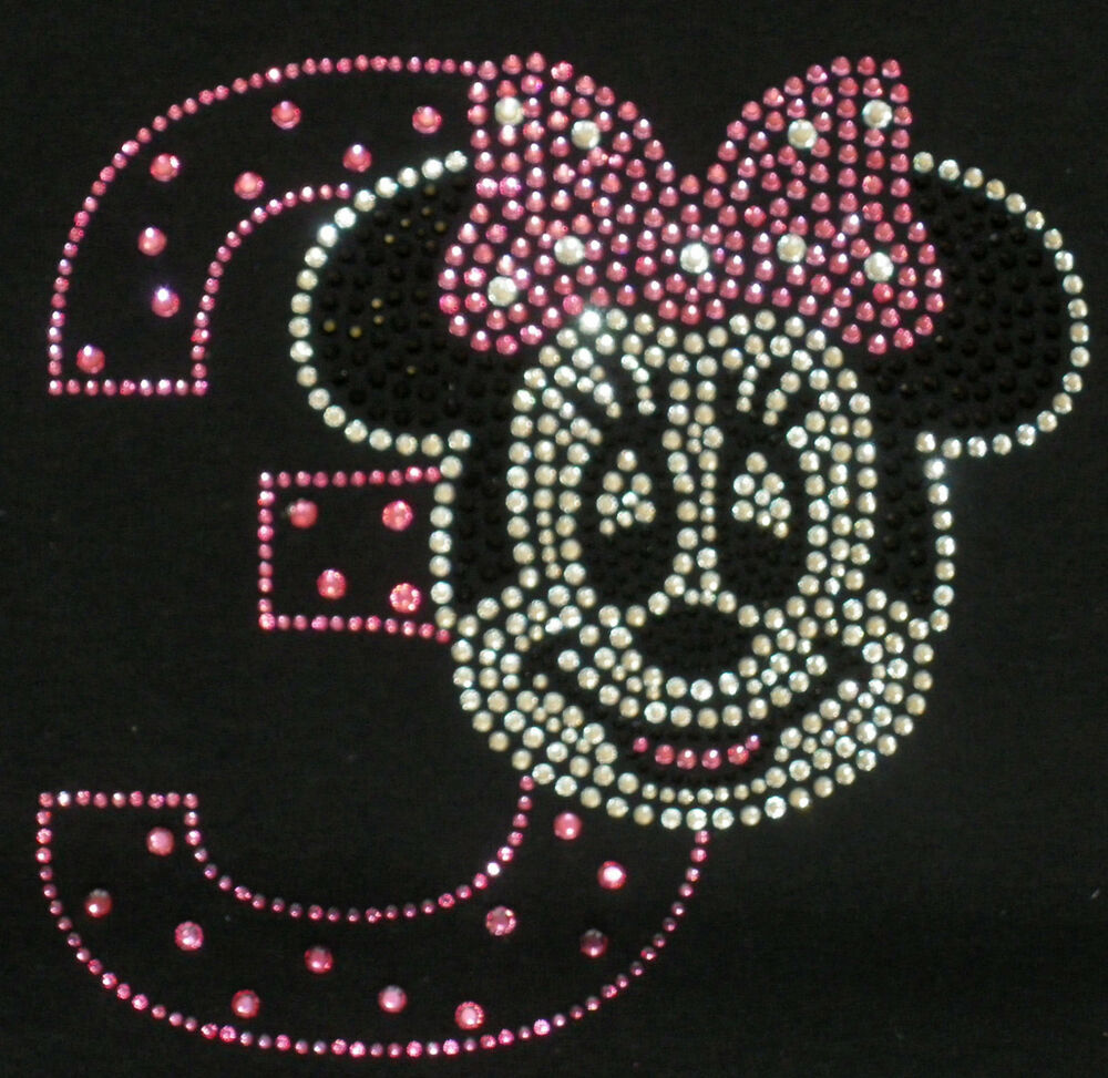 Minnie Mouse Pink/clear 3rd Birthday Iron On Bling