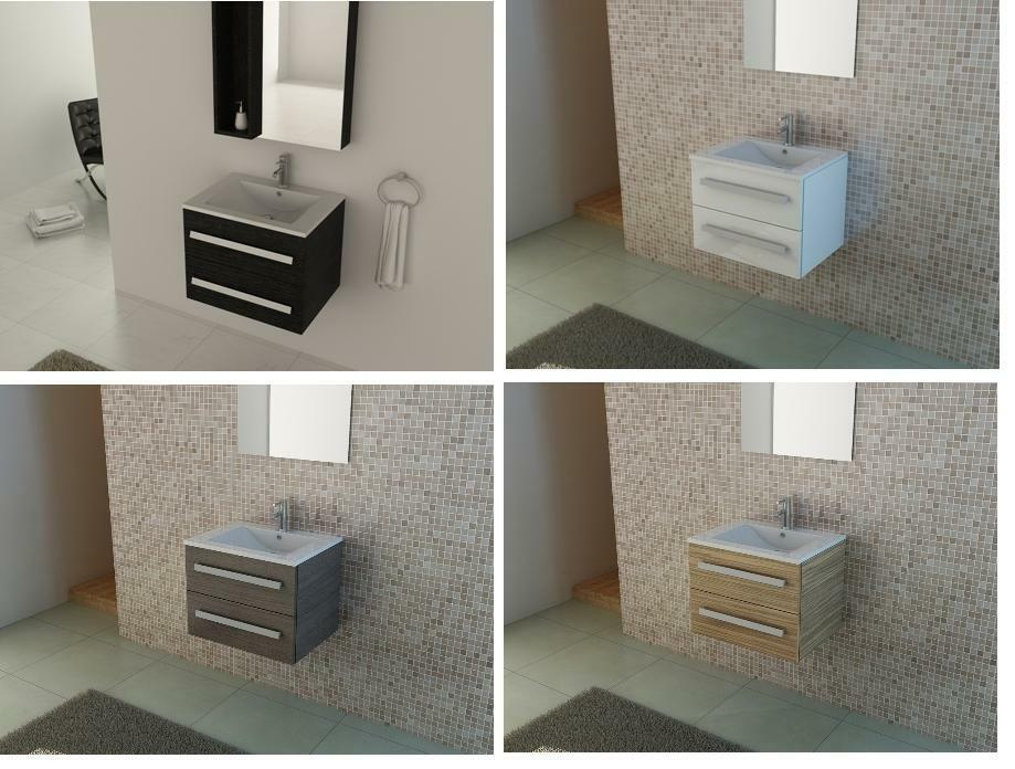 Bathroom 600 Mm Wall Hung Vanity Unit Ceramic Sink Oak
