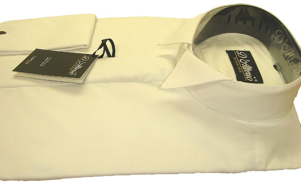 Free post mens ivory cotton rich wing collar dress shirt for Mens ivory dress shirt wedding