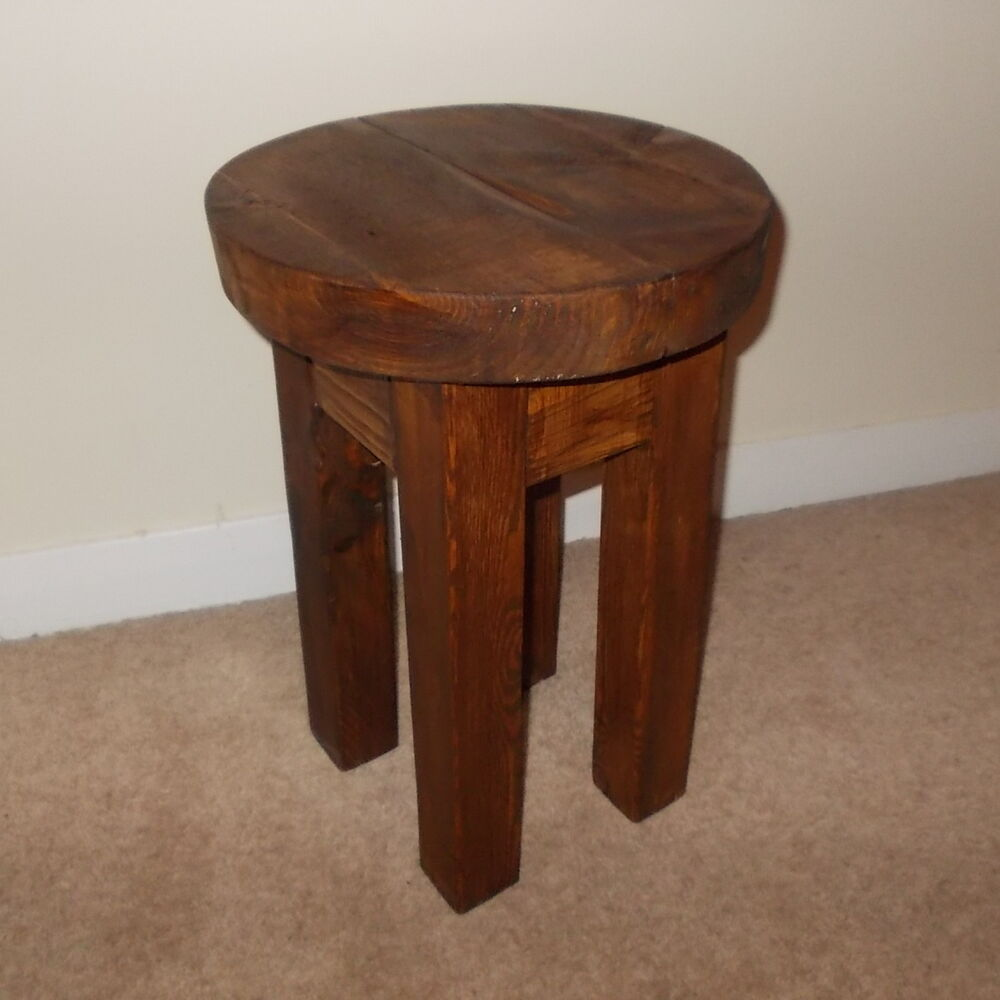 Rustic Wooden Bar Stools ~ New hand made rustic solid wooden stool bar ebay