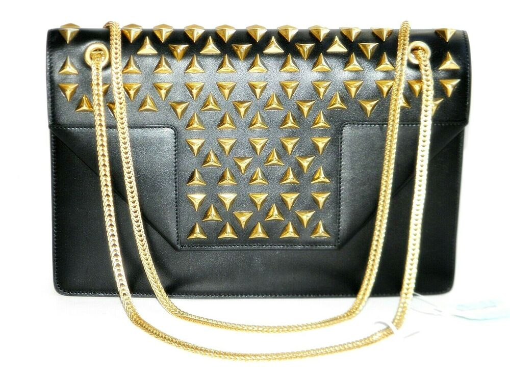 Ysl Saint Laurent Black Leather Betty Studded Chain