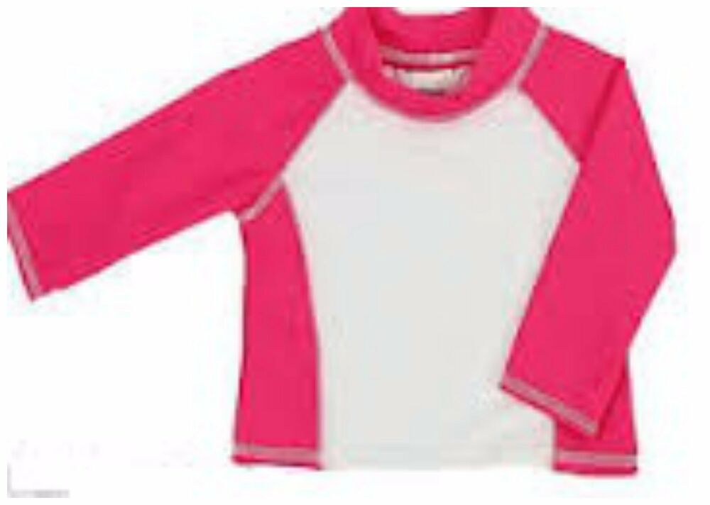 Infant girls long sleeve rash guard hot pink white upf for Baby rash guard shirt