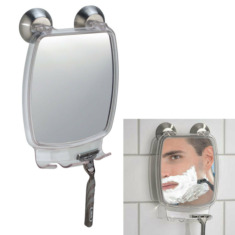 bathroom suction mirror fog free shower rectangular mirror with power 11543