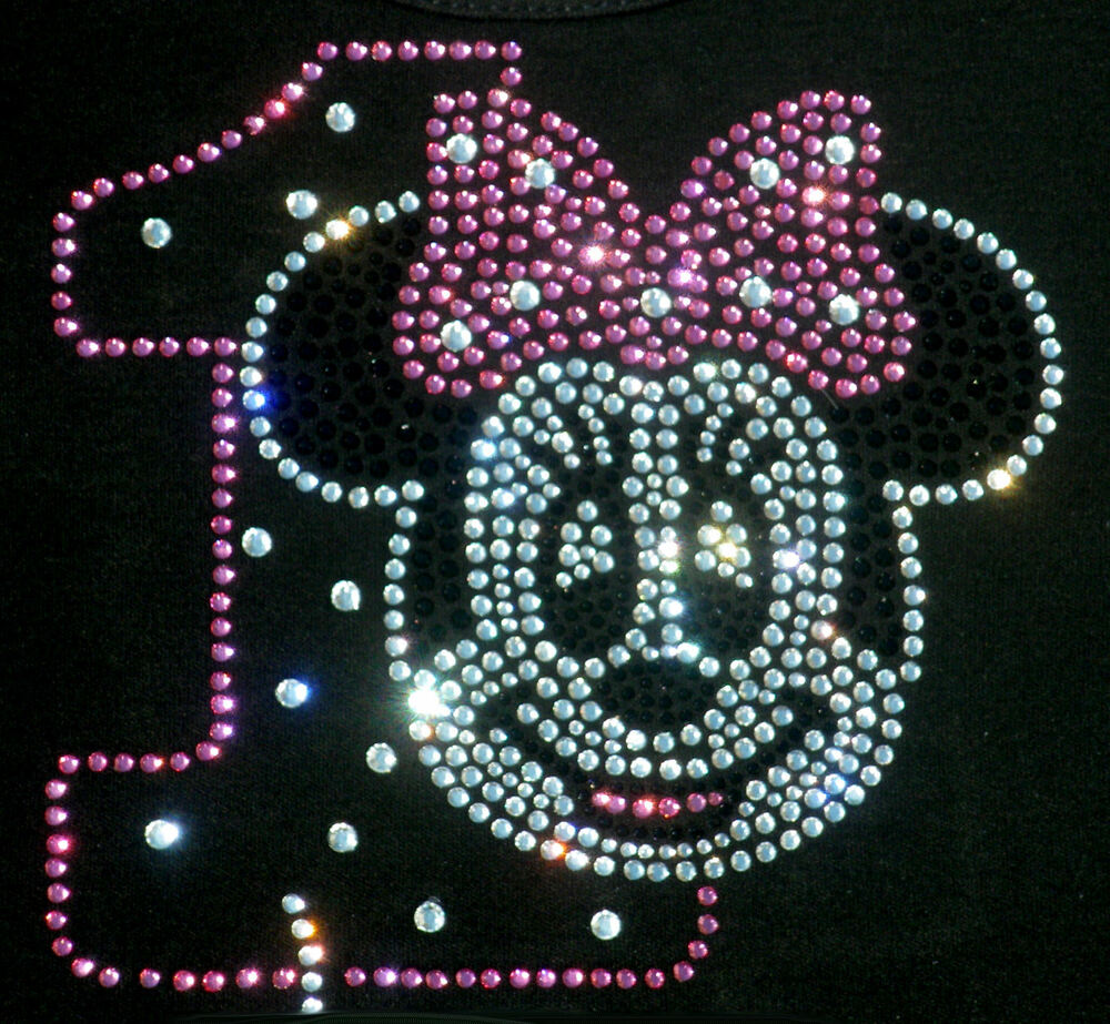 Minnie Mouse Pink/clear 1st Birthday Iron On Bling