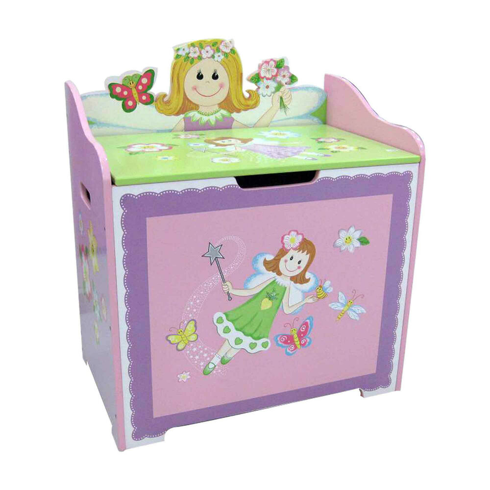 PINK FAIRY CHILDRENS TOY BOX KIDS STORAGE BOX STORAGE