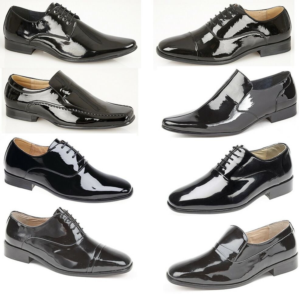 mens black lace up leather lined patent dress wedding
