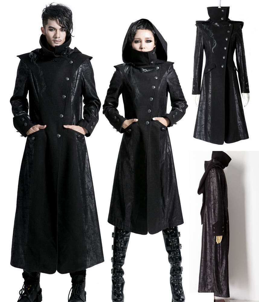 gothic punk rave mantel schwarz unisex damen herren lange jacke kapuze. Black Bedroom Furniture Sets. Home Design Ideas