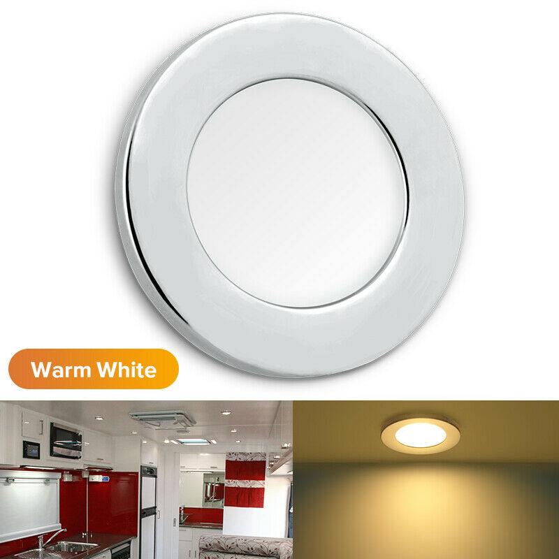 "12v Led Under Cabinet Counter Strip Light Rv Camper: 2x2.76"" 12V Round LED Ceiling Down Light Cabin Under"